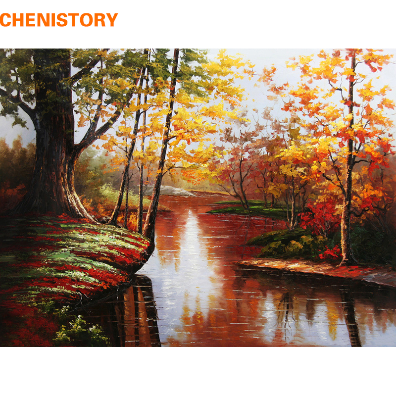 Chenistory Landscape Autumn River Diy Painting Numbers