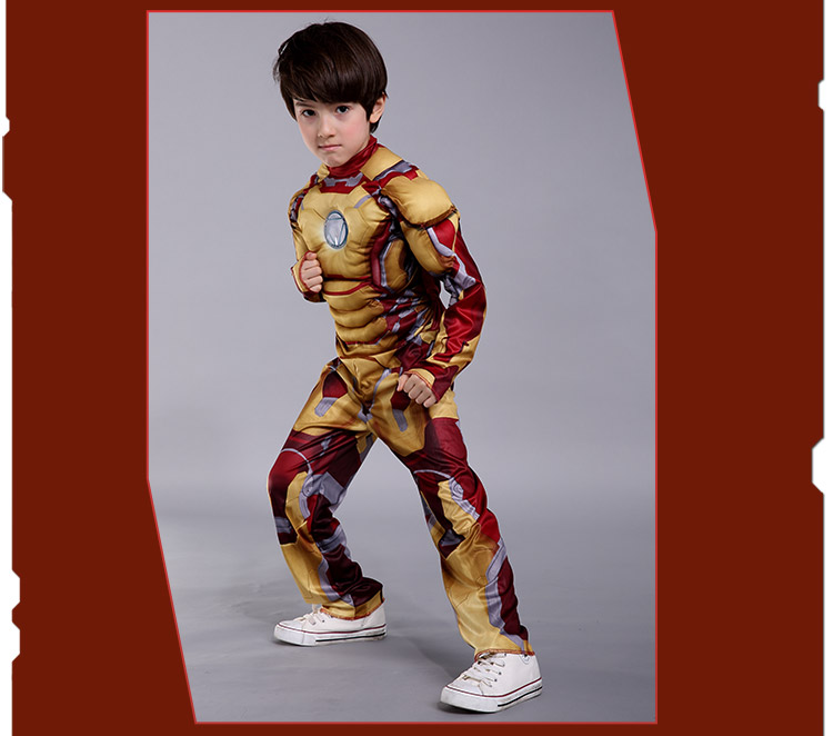 kids iron man cosplay costume children halloween cosplay superhero kid suit iron man muscle costume little - Halloween Muscle