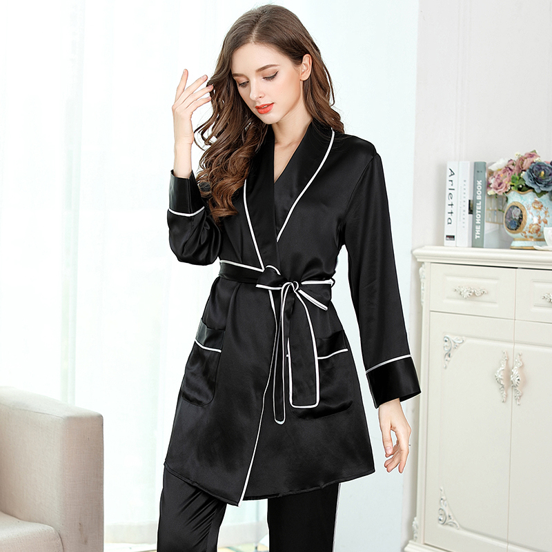 Женский Шелковый пижамный комплект, черный длинный комплект из двух предметов с длинным рукавом, женская ночная рубашка для сна и отдыха, ше