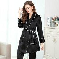 Женский Шелковый пижамный комплект 2019 женский черный длинный рукав полная длина два предмета Комплект женский сон & lounge Шелковый ночное бел