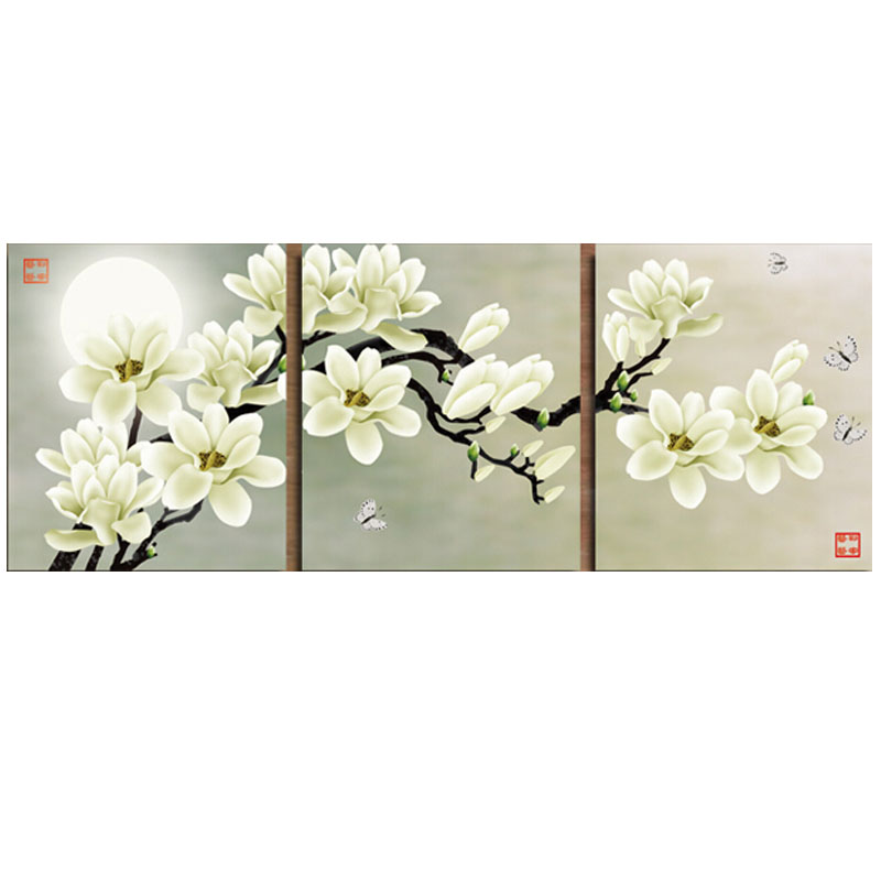Golden panno,Needlework,Embroidery,DIY Floral Painting,Cross stitch,kits white flower and moon Cross-stitch,Sets For Embroidery
