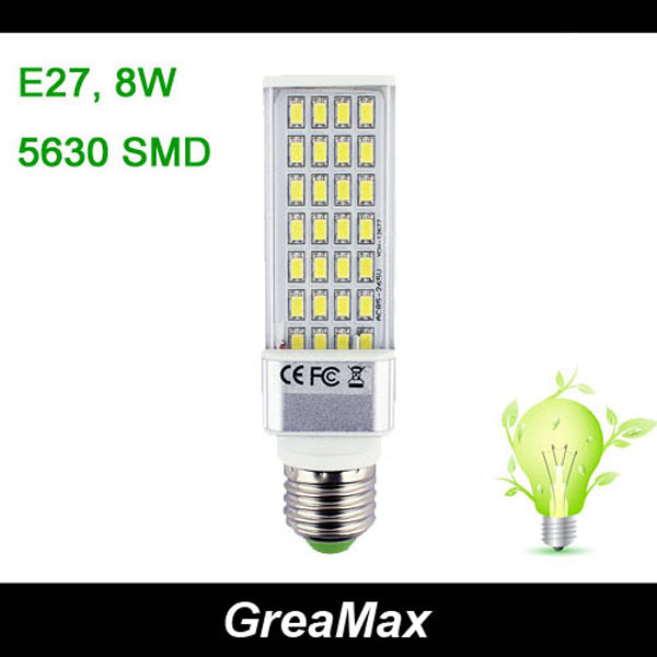 LED Corn Lamp Bulb Lighting Ceiling Spotlights AC 85-265V E27 8W 28 SMD 5630 With Transparent Case Cover Free Shipping