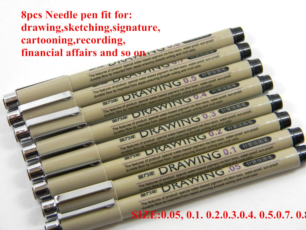 8pc needle drawing pen set for sketch cartooning signature 005 01 02