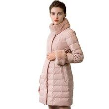 Новый кролик меховой воротник моды пуховик женский длинный стеганые верхняя одежда осень-зима пальто из воспитать в себе мораль