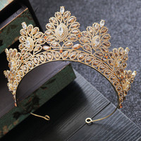 PEORCHID Rhinestone Baroque Bride Crown Korean Jewelry Wedding Hair Accessories Gold Crystal Pageant Tiaras Queen Crown 2019
