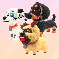 XIZAI Connection blocks Big size Cute Dachshund brinquedos Dog Model Pet Cartoon Building Bricks Challenge Kids Toys Children