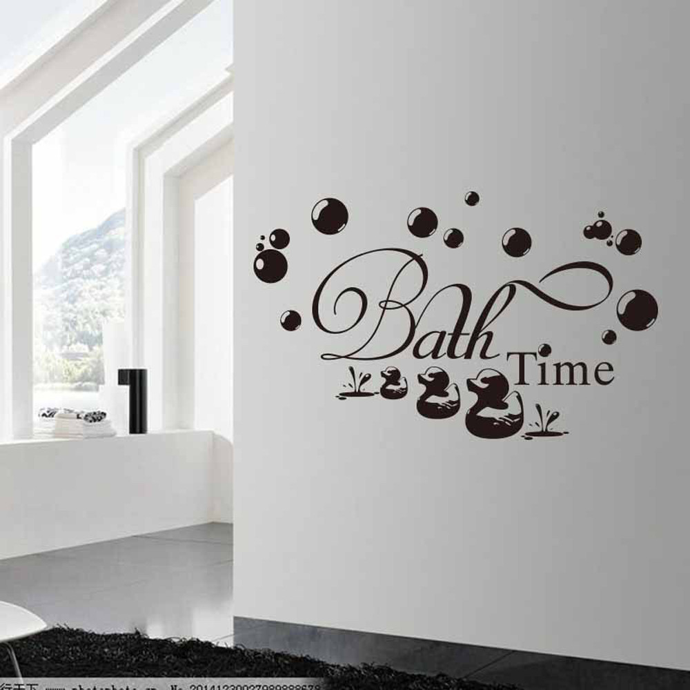 Duck Home Decor: Bath Time Wall Sticker Bathroom Quote Wall Decal Bubbles