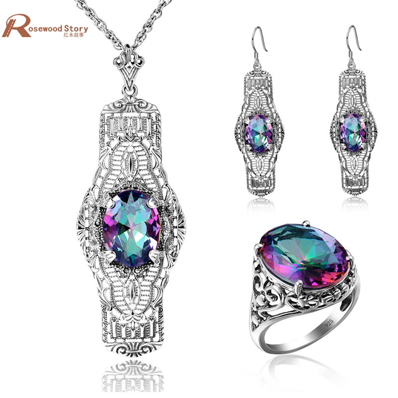Victorian Vintage Jewelry Set Rainbow Mystic Colorful Crystal Soild 925 Sterling Silver Wedding Jewelry Sets For Bride GiftVictorian Vintage Jewelry Set Rainbow Mystic Colorful Crystal Soild 925 Sterling Silver Wedding Jewelry Sets For Bride Gift