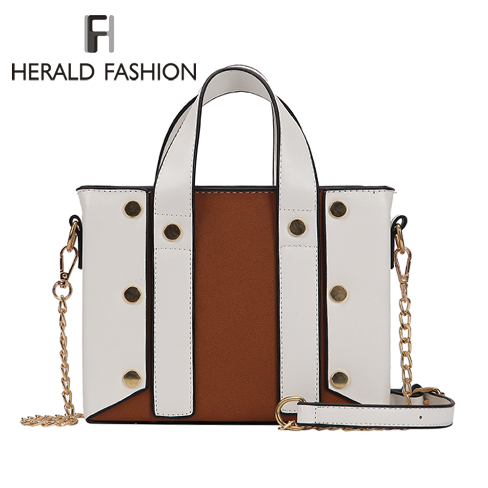Herald Fashion Quality Rivet Women Bag Leather Large Handbags Chain Strap  Woman Shoulder Bag Daily Vintage Causal Crossbody Bag f990dee397e0f