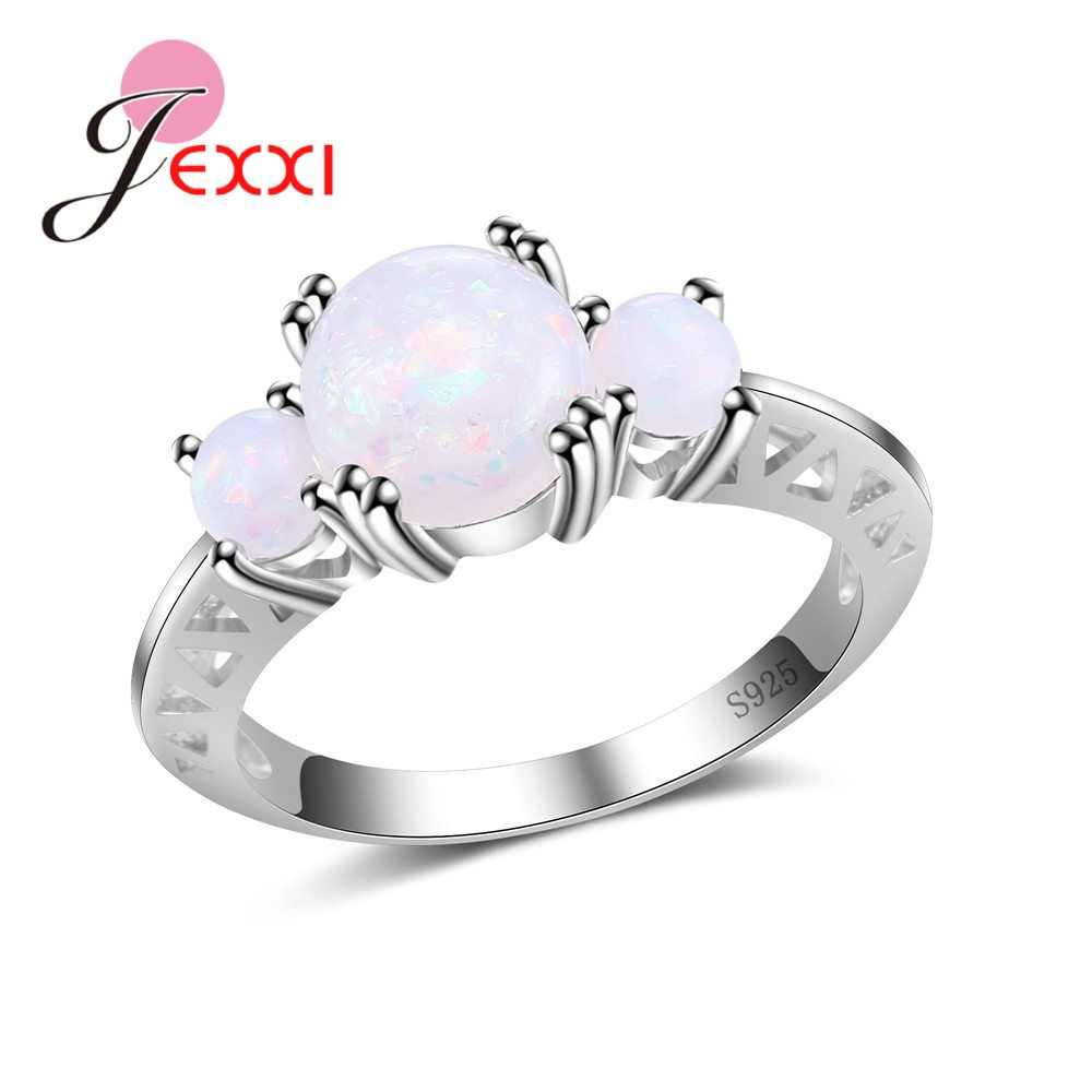 Exquiste Simple White Opal Stone Paved 925 Sterling Silver  Rings Jewelry For Women Wedding Engagement Popular Bijoux