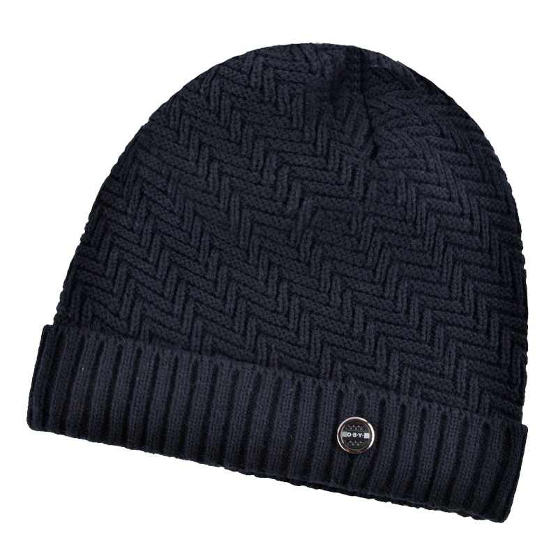 d2ad9866fa6 Winter hats for men bilayer knitted wool cap plus velvet thicker women hat  beanies for autumn
