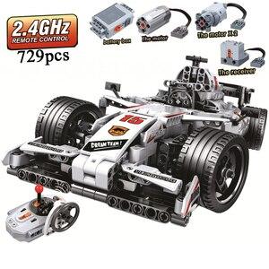 Image 1 - Мпц F1 гонки RC автомобиль дистанционного Управление 2,4 ГГц техника с двигателем коробка 729 шт Строительные блоки, кирпич создатель игрушки для детей, подарки для детей