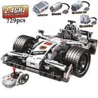 MOC F1 Racing Car Remote Control 2.4GHz Technic with Motor Box 729pcs Building Blocks Bricks Creator Toys for Children