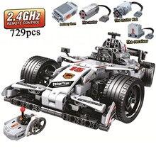 Moc f1 racing rc carro de controle remoto 2.4ghz de alta tecnologia com caixa de motor 729 pces blocos de construção tijolo criador brinquedos para presentes das crianças