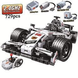 MOC F1 samochód wyścigowy pilot 2.4GHz Technic z silnikiem Box 729 sztuk klocki Brick Creator legoinglys zabawki dla dzieci w Klocki od Zabawki i hobby na