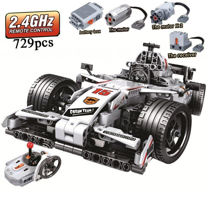 MOC F1 voiture de course télécommande 2.4 GHz technique avec boîte à moteur 729 pièces blocs de construction briques legoing créateur jouets pour enfants