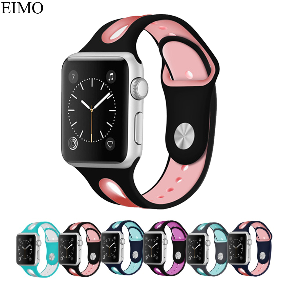 EIMO Sport Silicone strap For Apple watch band series 3 2 1 Iwatch bands 42mm 38mm bracelet wrist Rubber watchband metal Adapter sport silicone band strap for apple watch series 3 2 1 42mm 38mm rubber bracelet wrist watchband for iwatch watch accessories
