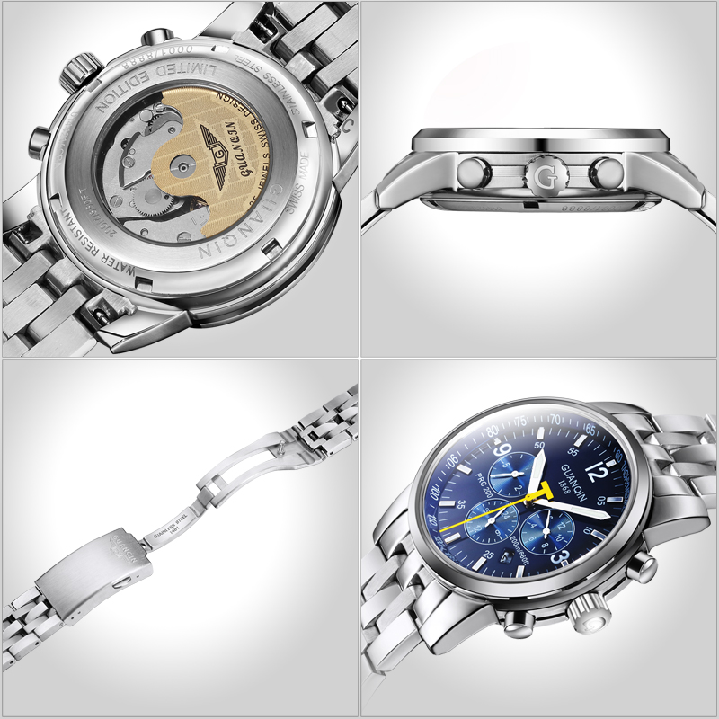 c2f17da30783 Aliexpress.com  Comprar Relojes mecánicos para hombre GUANQIN 2016  originales de marca de lujo de acero completo a prueba de agua M 100 M  relojes de pulsera ...