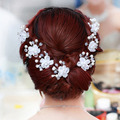 Romantic Wedding Hair Accessories Crystal Pearl Diamante Hair Clip Lace Flower Hairpin Bridal Headband Korea Tiara SL