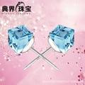 925 Sterling Silver Ametista Cube Brincos Coreano Brincos de Prata de alta-grade estrela com Brincos Jóias