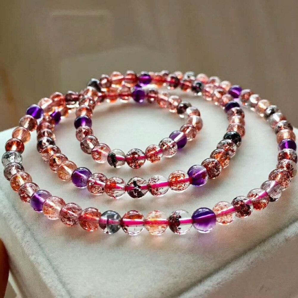 Высочайшее качество натуральный цветной рутилированный кварц супер семь других кругов женский Кристальный браслет 5,4 мм