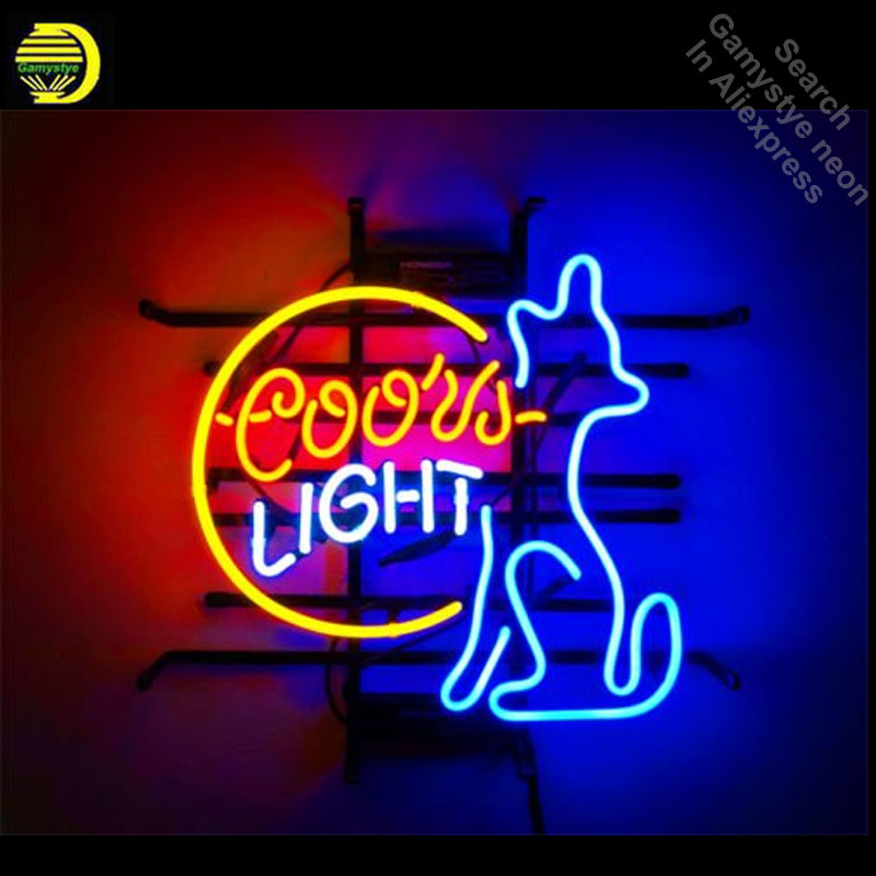 Neon Signs for Beer Wolf Moon Coors Light Handcrafted Business Neon Bulbs sign Glass Tube Decorate Store Wall Signs dropshipping все цены