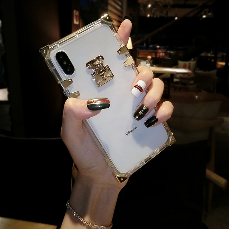 Luxury Transparent Square TPU Case For iPhone 6 6s 7 8 Four corner Shockproof Cover For iPhone XMAX X XS XR Soft Case For Female in Fitted Cases from Cellphones Telecommunications