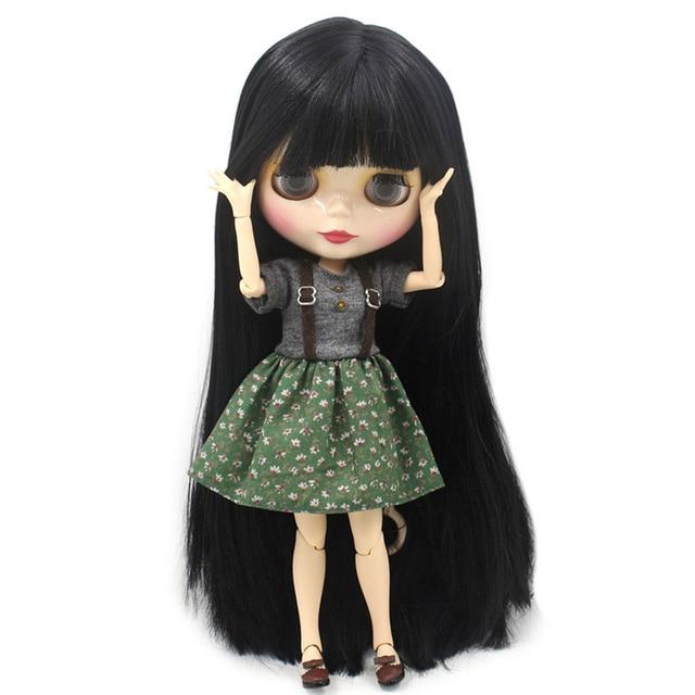 Buzlu çıplak fabrika Blyth Doll serisi No.BL9601 siyah saç beyaz cilt 1/6 ortak vücut Neo