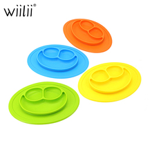 Baby Silicone Feeding Food Plate Smile Face Tray Dishes Food Holder For Infants Toddler Kid Children Feeding Bowl Tableware