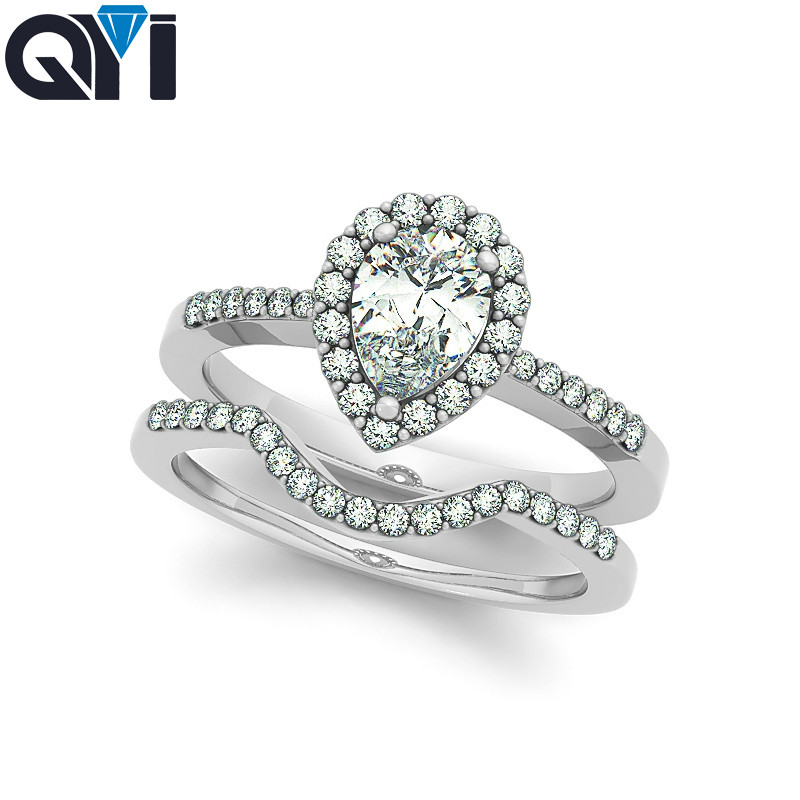 QYI women ring set 925 sterling silver ring sets 2 ct Oval cut Luxury Fine Jewelry wedding cubic zirconia rings for women bandQYI women ring set 925 sterling silver ring sets 2 ct Oval cut Luxury Fine Jewelry wedding cubic zirconia rings for women band