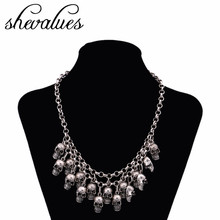 Shevalues Silver Gold Vintage Necklace Women Skeleton Skull Choker Necklace Chain Punk Goth Antique Pendant Collares Jewelry