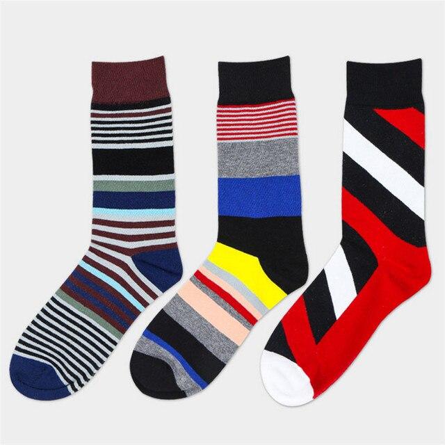 57c2f870709d8f Skarpety męskie 3 par/partia jesień-zima kolorowe paski bawełniane skarpetki