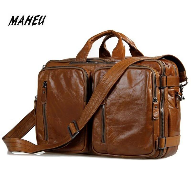 MAHEU Real Genuine Leather Briefcases 14 Inch Laptop Casual Handbag High Quality Handmade Cowhide Shoulder Bag