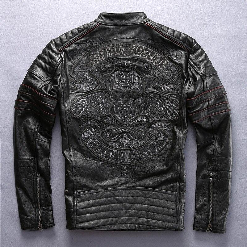 Fabbrica 2018 Nuovi Uomini Retro Vintage Leather Biker Jacket Ricamo Modello Del Cranio Nero Slim Fit Inverno Degli Uomini del Motociclo Cappotto