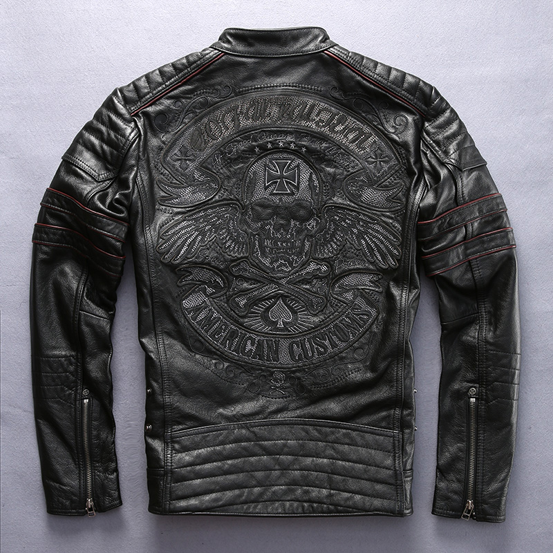Factory 2019 Men Retro Vintage Leather Biker Jacket Embroidery Skull Pattern Black Slim Fit Men Winter Motorcycle Coat M-4XL