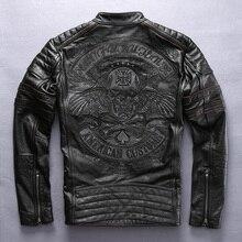 Factory 2019 Men Retro Vintage Leather Biker Jacket Embroidery Skull Pattern Bla