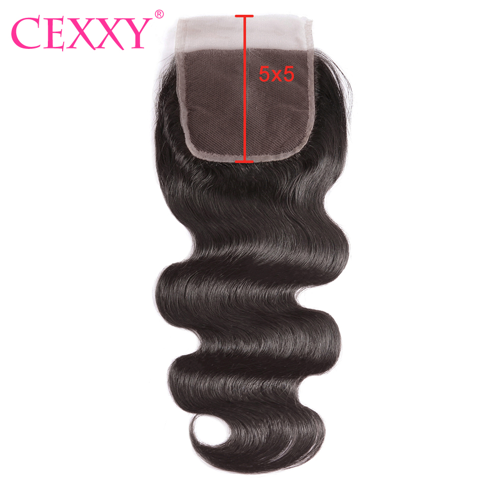 CEXXY 5x5 Lace Closure Brazilian Body Wave 8 20 Inch Human Hair Closure Natural Color Swiss