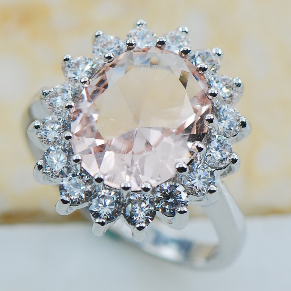 Morganite 925 Sterling Silver Top Quality Fancy Jewelry wedding Ring Size 5 6 7 8 9 10 11 F1179