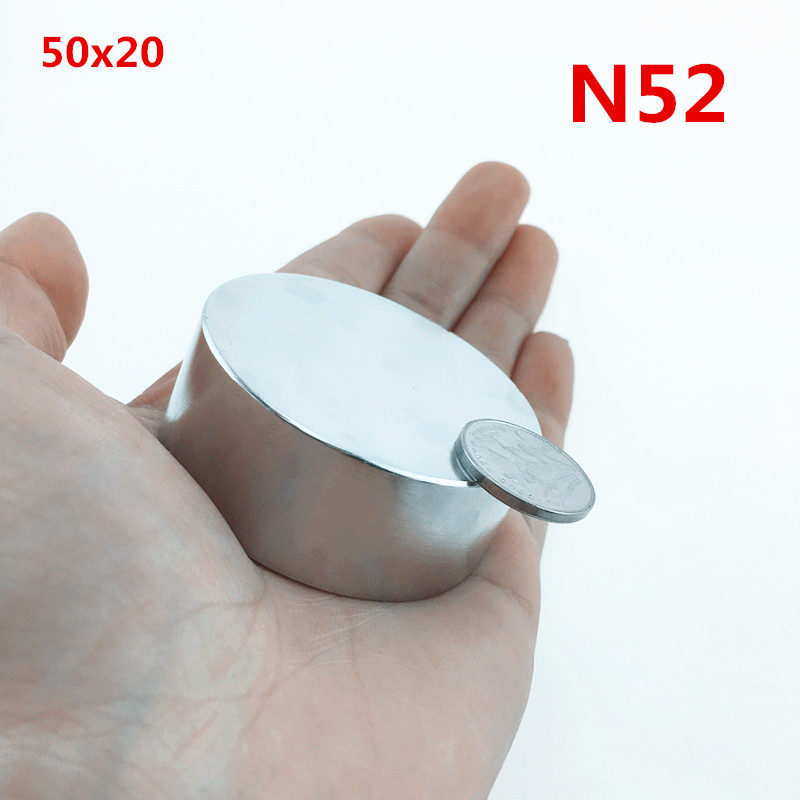 1 piezas N52 neodimio 50x20mm super strong disco redondo de tierras raras potente galio metal imanes agua metros altavoz 50*20