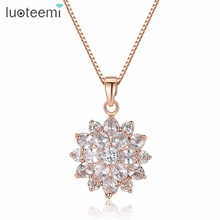 Teemi Luxury 2015 New Fashion Rose Gold Plated Snow Flower CZ Costume Jewelry Necklace For Women Party Gift Wholesale
