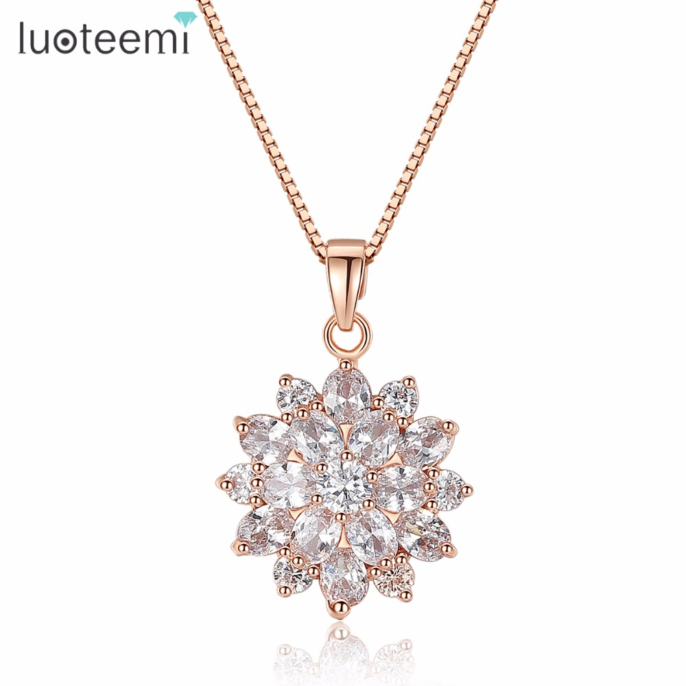 LUOTEEMI Luxury 2015 New Fashion Rose Gold-Color Snow Flower CZ Costume Jewelry Necklace