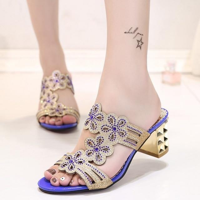 be40e66f7f9a02 Women Sandals New Summer Brand PU Leather Women flip flop shoes Fashion  Shiny rhinestones Thick Heel Fish Head Gladiator 2107