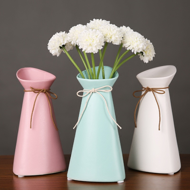 Handmade Ceramic Dried Flower Vase Cute Candy Color Flower Vase Tabletop Vase Decoration Home Nordic Decorative Vases Gift