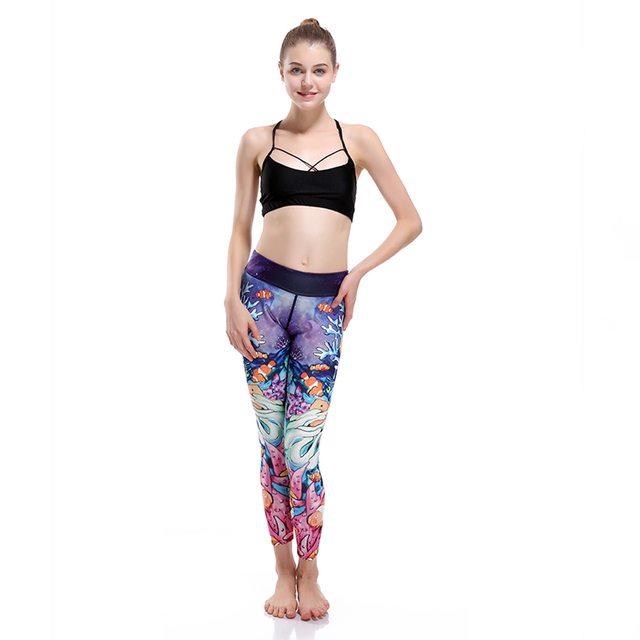 LOVE SPARK High Quality Elastic Blue Seefish Pants Sportwear For Women S 3XL 3D Jogging Running Gym Fitness Clothing
