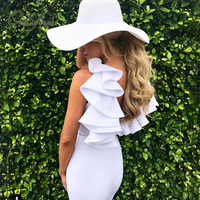 Ordifree 2017 Summer Elegant Women Mini Short Ruffle Bandage Dress Ladies Sundress Sleeveless White Bodycon Sexy