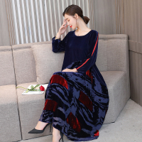 Women Plus size Dresses 3xl 4xl Three Quarter Sleeve Loose Fashion Print Baggy Big Size Woman Long Maxi Dress Elegant Robe Femme
