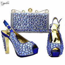 Excellent evening party set high heel shoes with purse bag set decorated with stones 988-4 in royal blue, heel height 12CM