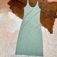 Дизайнерские бренды люксовые модные женские платья 2019 женское платье зеленое черное платье Летнее женское Бандажное тонкое платье без рук