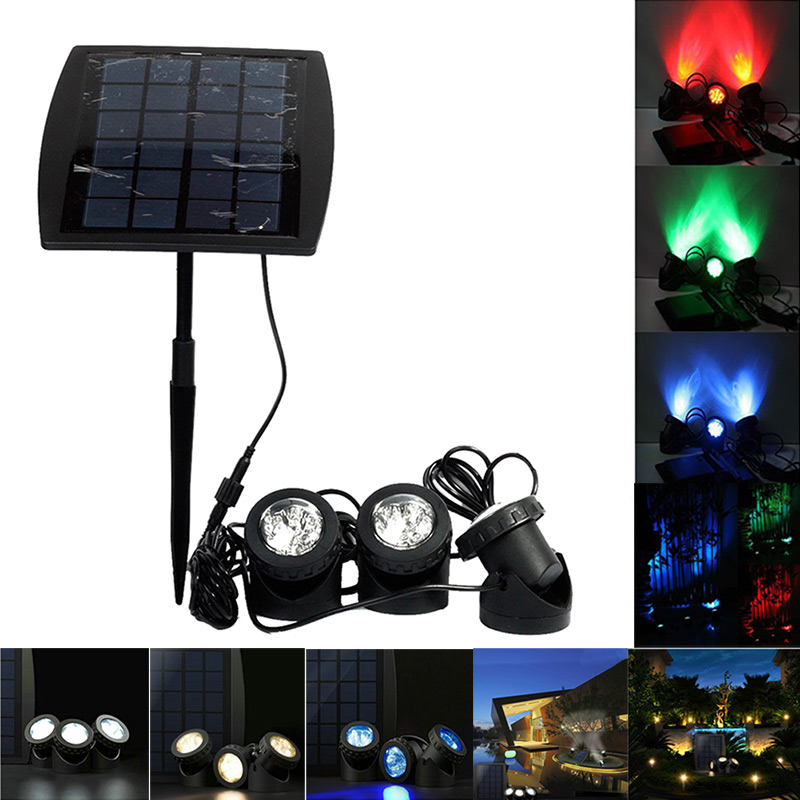Solar Spotlight RGB 18 LED Landscape Projection Outdoor Security Night Light Adjustable Lighting Angle for Garden