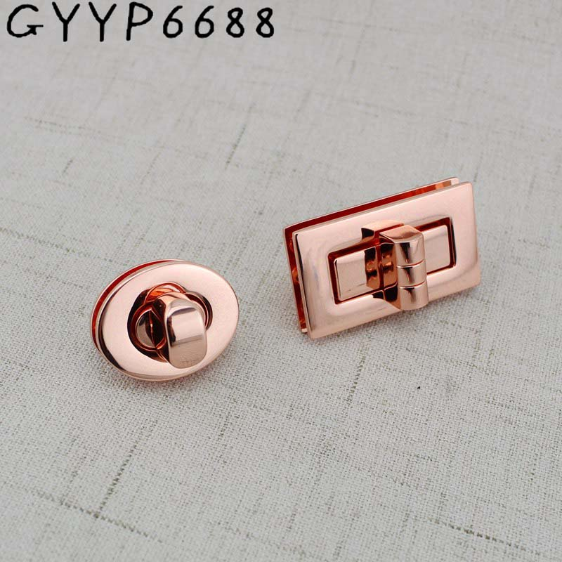 2sets 15sets Hight Qulity Rose Gold Oval Lock Twist Turn Rectangle Lock For Bag  Bright Handbags Hardware Accessories Leather